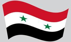 Flag of Syria waving on gray background - stock illustration