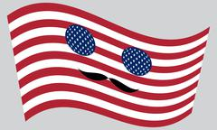 Patriotic USA icon in style of American flag waving with mustaches Piirros