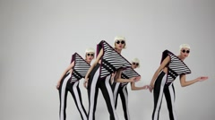 Dancing girls on white background Stock Footage