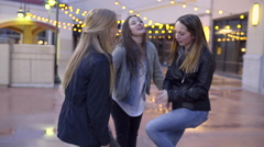 Girls Dancing/Playing A Hand Game At Night In City, On A Rooftop (Slow Motion) Stock Footage