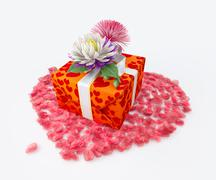 White gift box with ribbon bow and flowers and heart shape, holiday template Stock Illustration