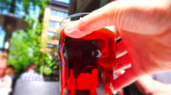 4K Beer Pint in Hand, Condensation Glass on Pub Patio, Cold Beverage Stock Footage