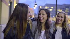 Carefree Teens Laugh And Enjoy Walking Around City At Night Stock Footage