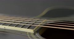 Closeup of old acoustic guitar - macro 1 Stock Footage