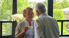 happy loving old couple drinking tea and talking across from each other - stock footage