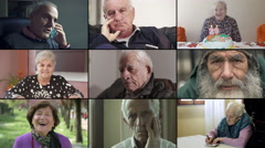 Multiscreen of different senior people portraits Stock Footage