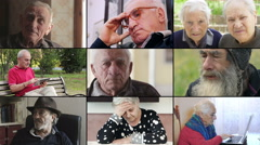 Composition of old people doing differents actions - stock footage