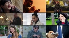 Composition of people and technology: portraits of people using smartphone - stock footage