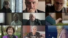Multiscreen of old age- portraits of different old people Stock Footage