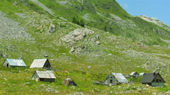 Old houses in the village household on the mountain Sinjajevina, Montenegro - stock footage