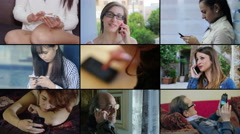 Composition of different people in age and sex while using cellphone - stock footage