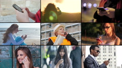 Importance of mobile: multiscreen of different people while using cellphone - stock footage