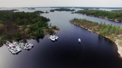 Boat leaving Beausoleil Island National Park Stock Footage