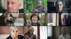 Multiscreen of old people close up Stock Footage