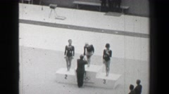 1968: Gold medal awards ceremony women's vault gymnastics Summer Olympic Games. Stock Footage