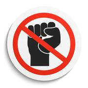 No fist up on White Round Plate - stock illustration