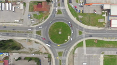 Aerial view of roundabout in Podgorica city, Montenegro Stock Footage