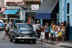 Classic Black Car Havana Streets Cuba Stock Photos