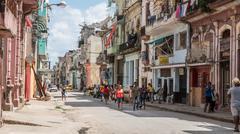 Havana Streets Downtown Cuba - stock photo