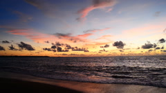 Beautiful sunset at the beach in evening Stock Footage