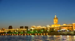 Night scene Cityscape of Tianjin railway station  in twilight time. Stock Footage