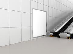 Mock up poster media template ads display in Subway station escalator. 3d - stock illustration