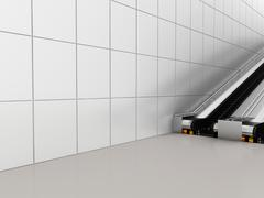 Escalator, Up and down escalators in public building. Office building or subway - stock illustration