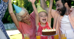 Family celebrating a birthday Stock Footage