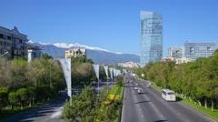 Transport on the Al Farabi prospect in the morning in Almaty Kazakhstan Stock Footage