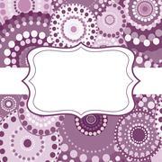 Patterned frame background invitation circular ornament pink - stock illustration