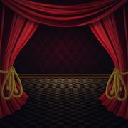 Red Curtains Stage - stock illustration