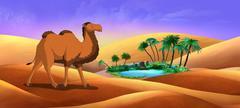 Bactrian Camel Goes Through the Desert Piirros