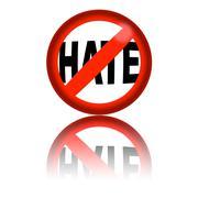 No Hate Sign 3D Rendering - stock illustration