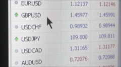 FINTECH - Medum macro currency market fluctuations; dolly right past graph Stock Footage