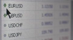 FINTECH - Medium macro view currency fluctations on screen with shallow DOF Stock Footage