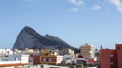 Time lapse of the Rock of Gibraltar and La Linea cityscape Stock Footage