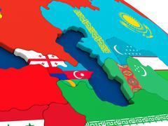 Caucasus region on globe with flags - stock illustration