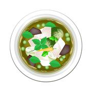 Thai Green Curry with Chicken and Eggplant - stock illustration