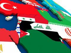 Israel, Lebanon, Jordan, Syria and Iraq region on globe with flags - stock illustration