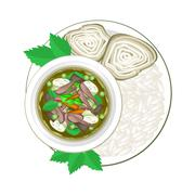 Thai Green Curry with Rice Vermicelli and Cooked Rice - stock illustration
