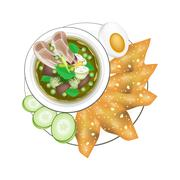 Thai Green Curry with Boiled Egg and Fried Wonton - stock illustration