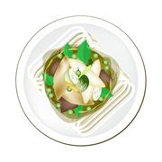 Thai Green Curry with Fish Balls Served on Rice Vermicelli - stock illustration