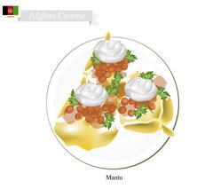Mantu or Afghan Dumpling Filled with Beef or Lamb Stock Illustration