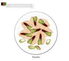 Pistachio, One of The Most Popular Nuts inAfghanistan - stock illustration