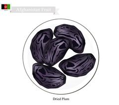 Dried Plum, A Popular Fruit in Afghanistan Stock Illustration