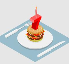 7 years birthday celebratory burger. Number seven with candle. Burger anniver Stock Illustration