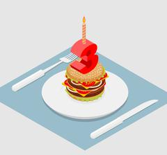3 years birthday celebratory burger. Number three with a candle. Burger anniv Stock Illustration
