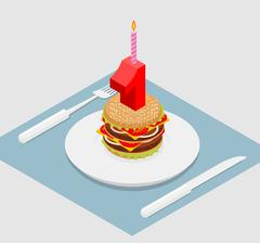 1 year birthday burger. Number one with candle. holiday Hamburger anniversary Piirros