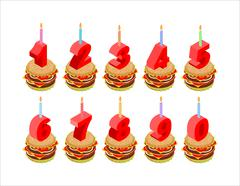 Burger and birthday candles numbers set. Holiday burger isometrics. Fast food - stock illustration