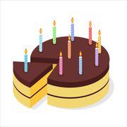 Chocolate cake birthday. Festive candles on pie. Piece of celebratory cake is - stock illustration
